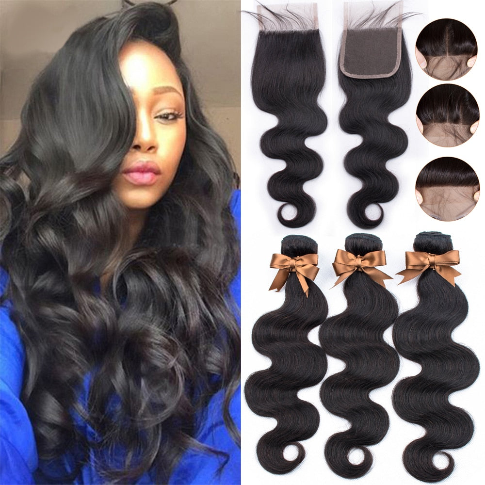 BEAUDIVA Brazilian Hair Body Wave Human Hair 3 Bundles With Lace Closure
