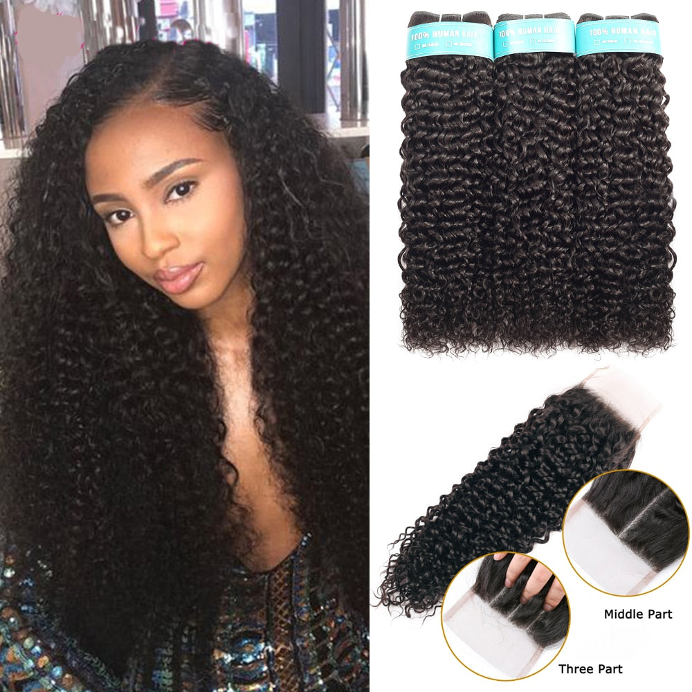BEAUDIVA Brazilian Hair Kinky Weave Bundles Remy Hair 3Pcs With Closure