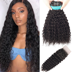 BEAUDIVA Brazilian Hair Weave Deep Wave 3 Bundles With Closure 100% Human Hair