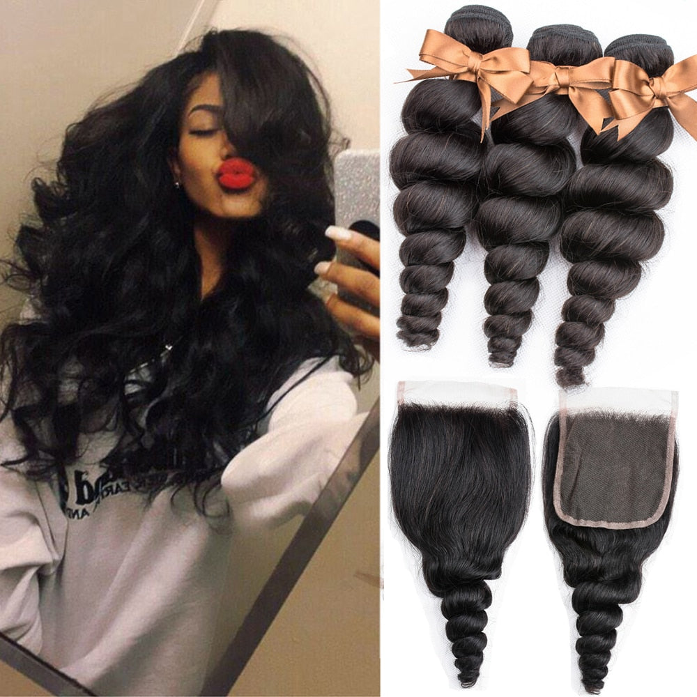 BEAUDIVA Brazilian Human Hair Weave Loose Wave Bundles With Closure Human Hair