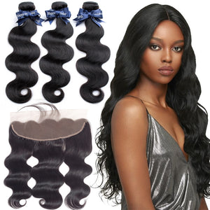 BEAUDIVA Malaysian Body Wave 3 Bundles With Frontal Closure Hair
