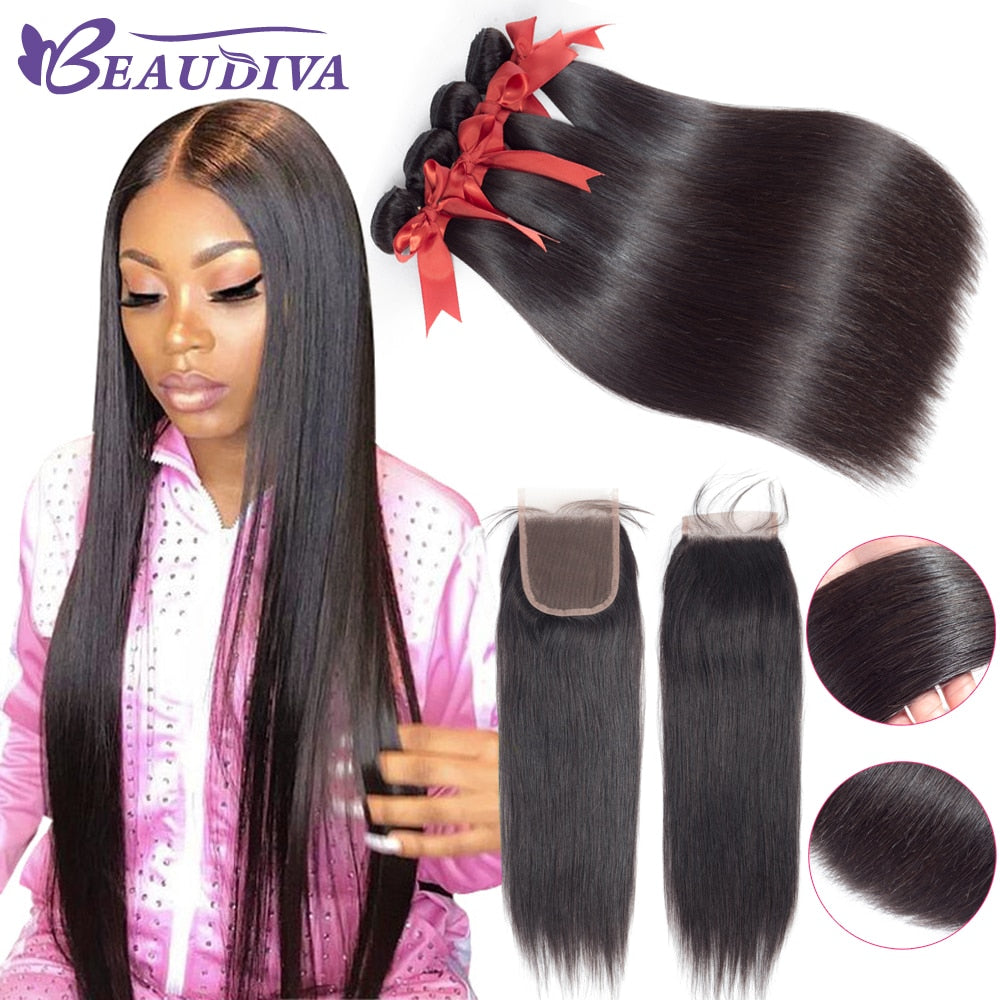 BEAUDIVA Human Hair 3 Pcs Bundles Peruvian Straight With Closure