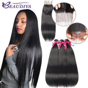 BEAUDIVA Peruvian Straight Hair Bundles With 4*4 Lace Closure Human Hair