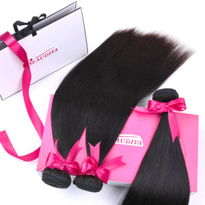 BEAUDIVA Pre-Colored Human Hair Weave Peruvian Straight Hair 3 Pcs Bundles