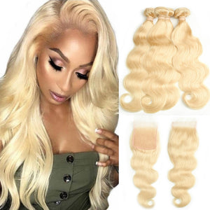 Beaudiva Honey Blonde Bundles With Closure Malaysian Body Wave Remy Human Hair Weave