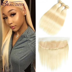 Beaudiva Brazilian Hair Weave Blonde Bundles With Frontal Straight Human Hair With Closure 13*4 Frontal