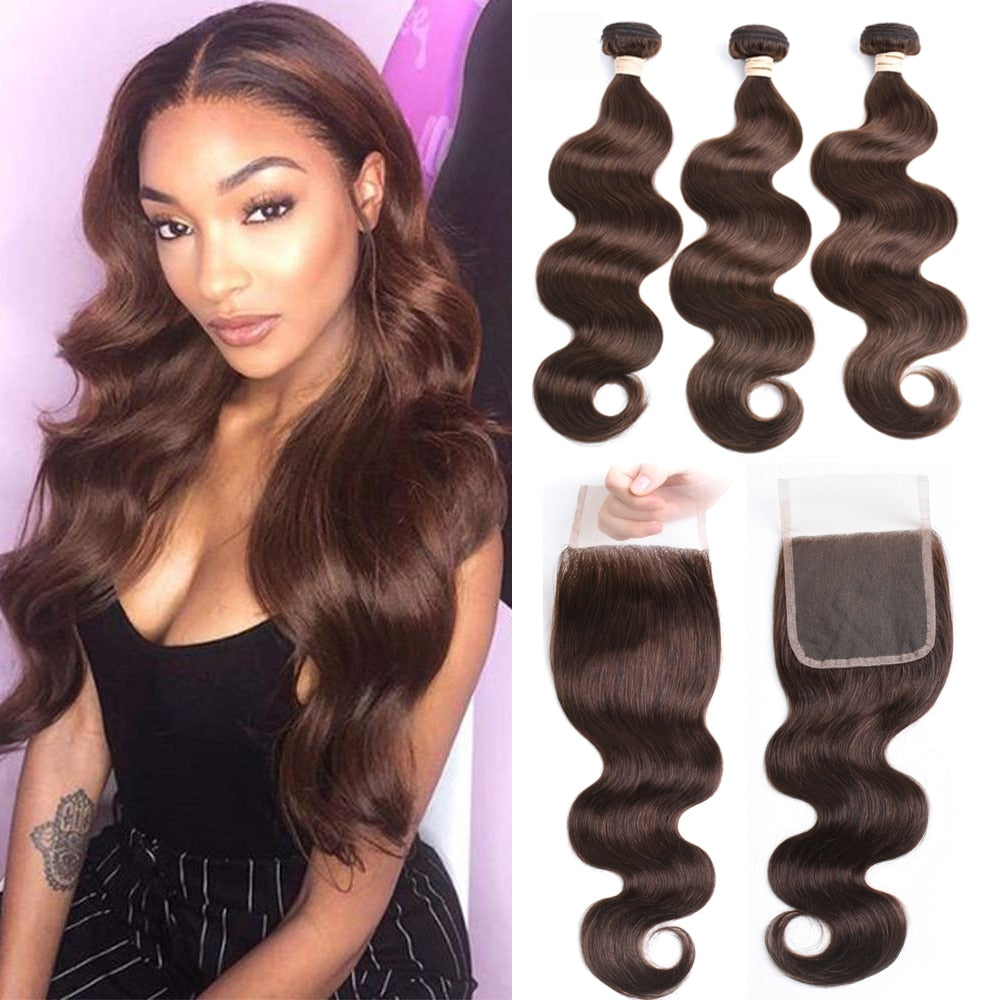 Beaudiva Hair 100% Human Hair Bundles With Closure Brazilian Body Wave Hair Weave 3 Pcs