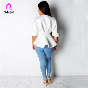 Adogirl V Neck Shirt With Ruffle Trim