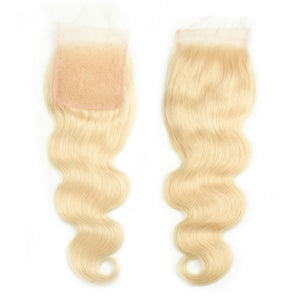 Brazilian Body Wave Hair 613 Blonde Hair Weave 3 Bundles With Lace Closure