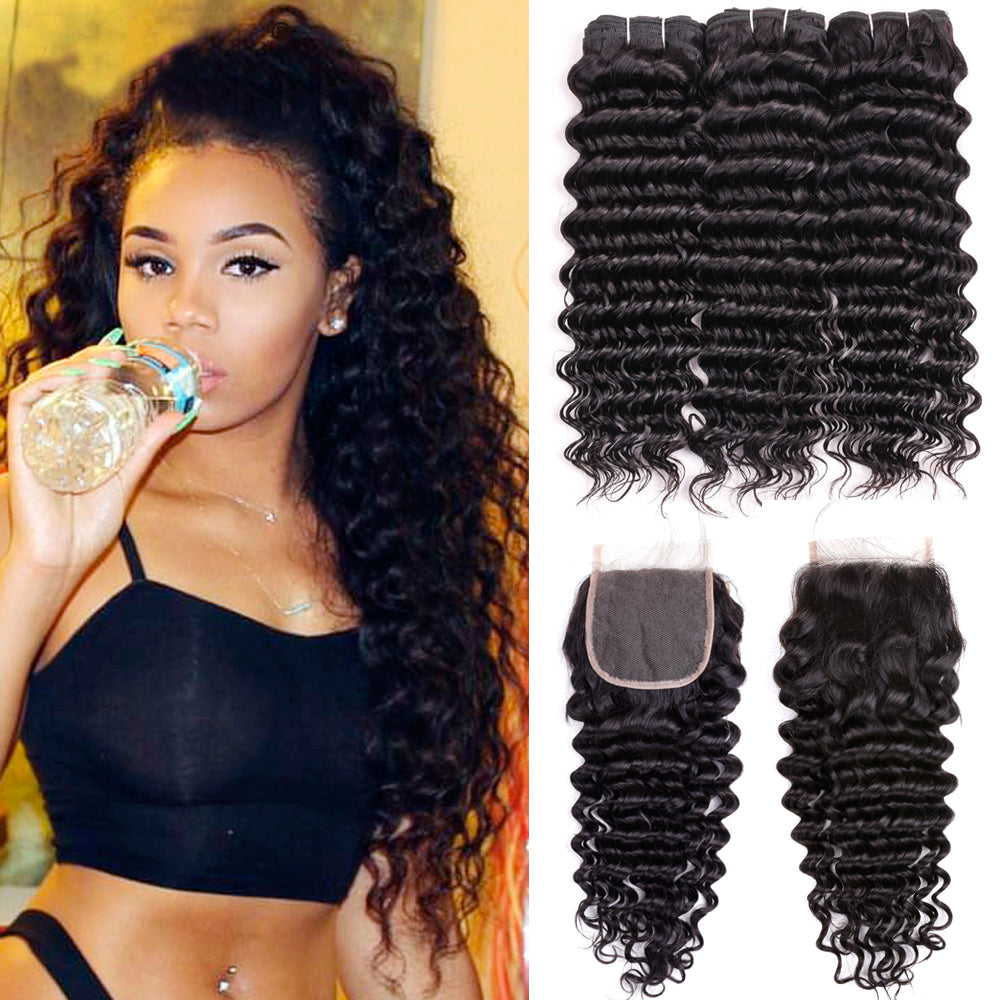 Brazilian Deep Wave Bundles With Closure Double Weft Remy Human Hair Weave