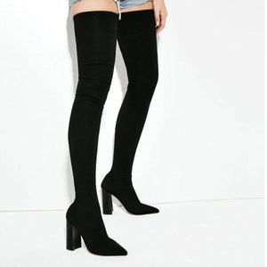 GENSHUO Slim Over the Knee Lycra Thigh High Boot