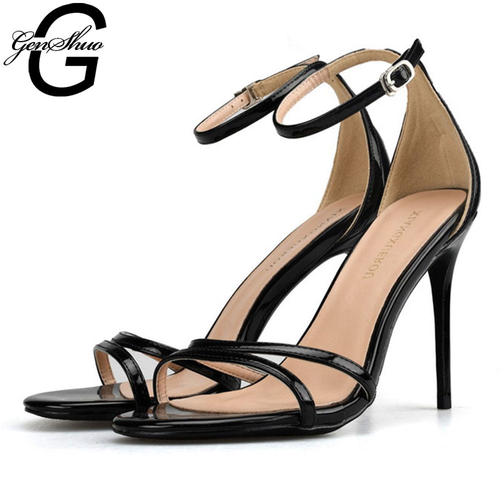 GENSHUO Patent Leather Sexy Stiletto High Heel Sandals