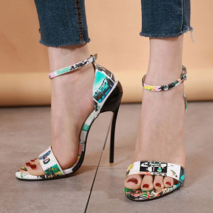 GENSHUO Sexy Thin High Heel Floral Print Leather Ankle Strap Sandal