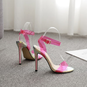 GENSHUO PVC Clear Transparent Strap High Heel Sandal