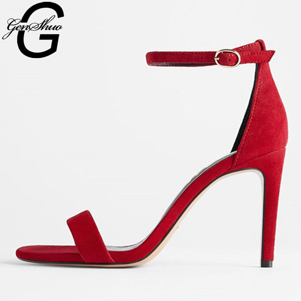 GENSHUO Leather Suede High Heel Sandal