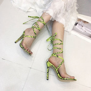 GENSHUO Cross-Strap Sandals Stiletto High Heel