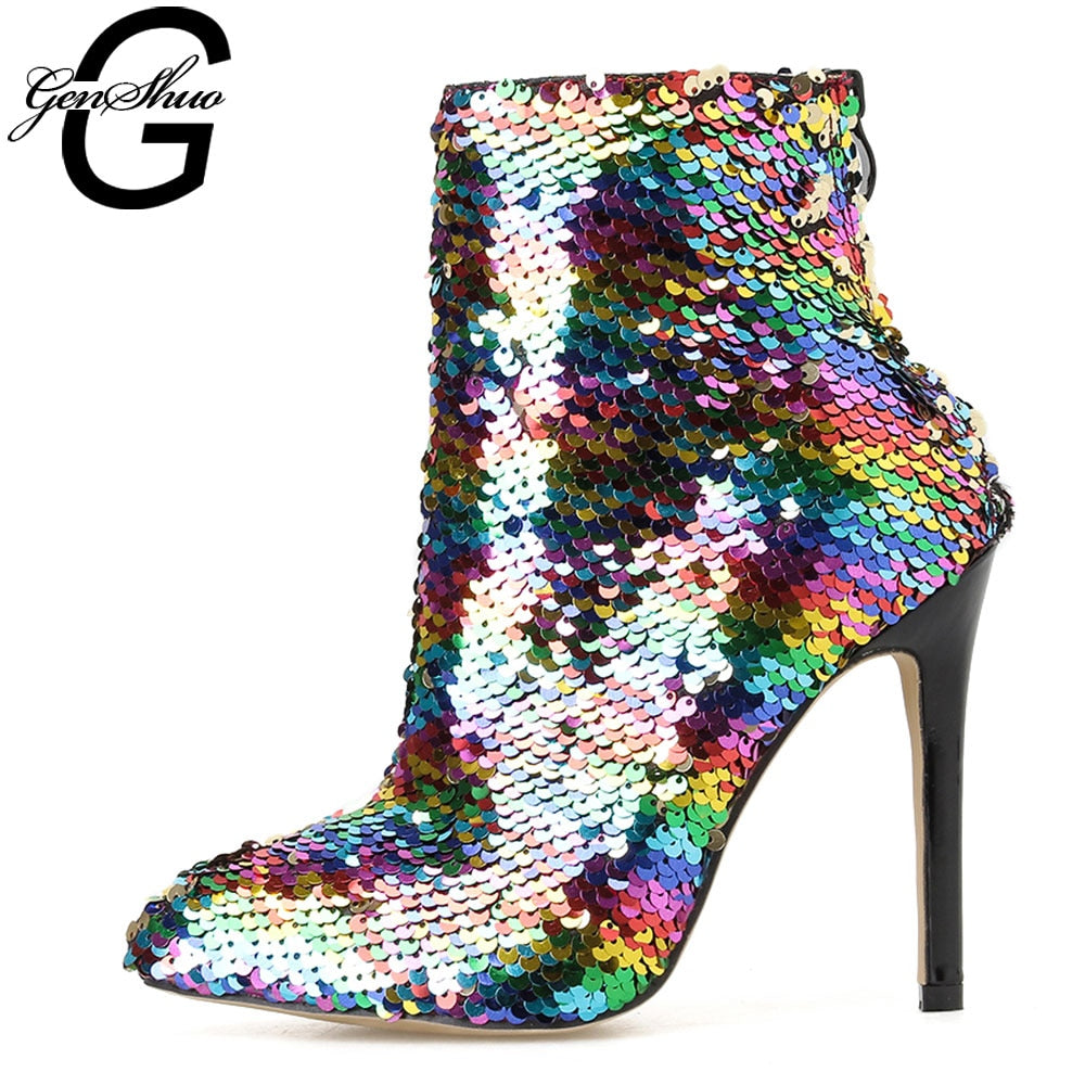 GENSHUO Ankle Boots Shiny Glitter Pointed Toe Stiletto Heel