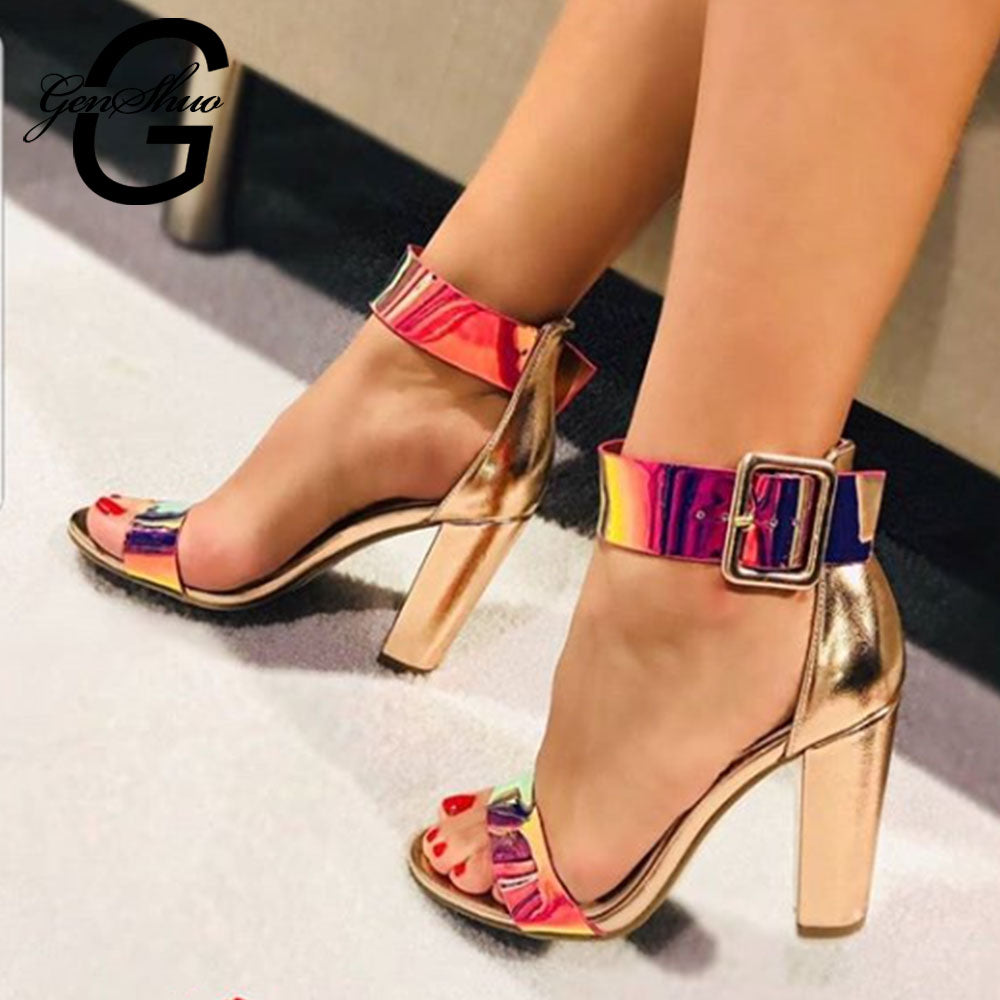 GENSHUO Chunky Heel Ankle Strap Gladiator Sandals