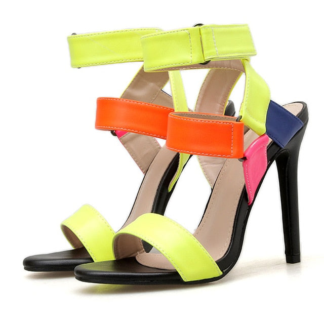 GENSHUO Women's Sandals Buckle Strap Thin High Heels Candy Color Open Toe