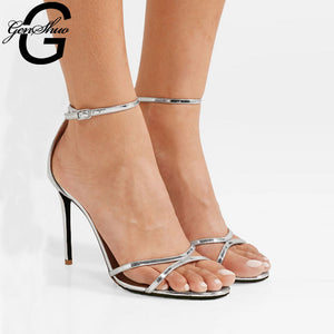 GENSHUO Ankle Strap Casual Sandal Open Toe High Heel Shoe