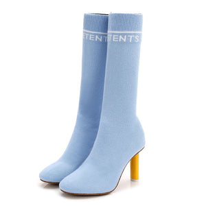 GENSHUO Elastic Sock Boots High Heel Stretch Sexy Booties Pointed Toe Pumps
