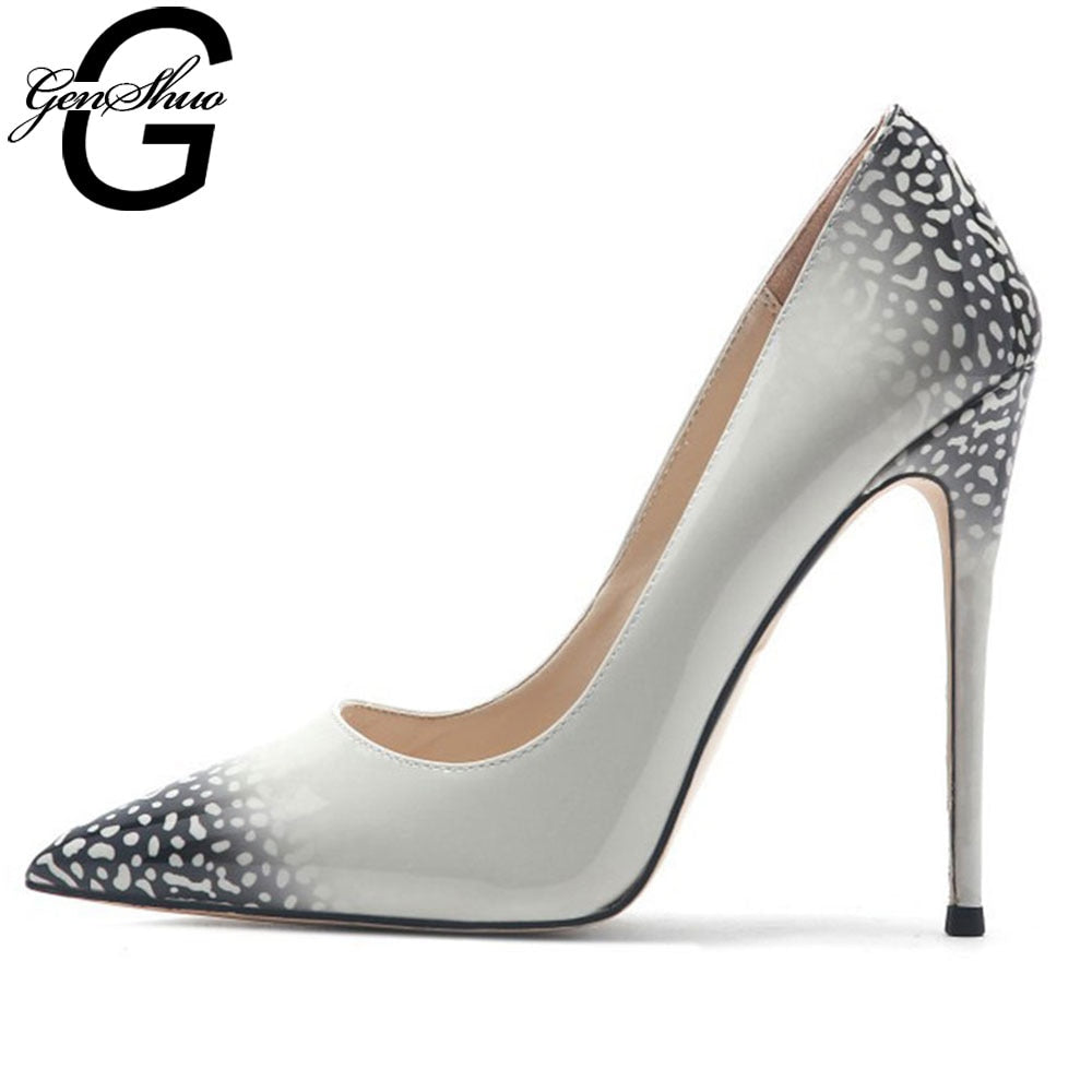 GENSHUO Print Leather Pumps Pointed Toe 12cm Stiletto Ultra High Heel