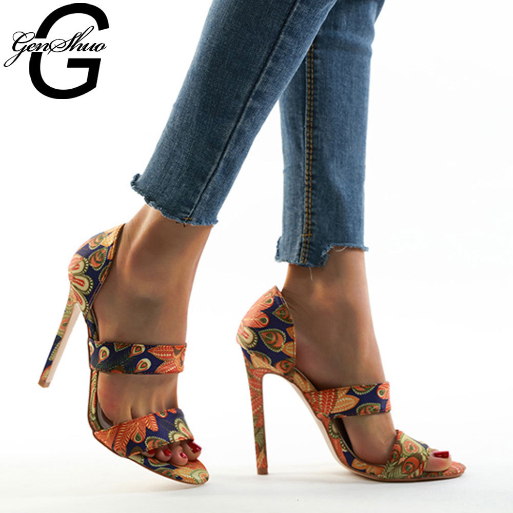 GENSHUO Gladiator Sandals Ethnic In Floral Print