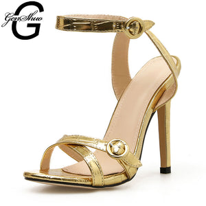 GENSHUO Casual Buckle Ankle Strap Sandal In High Heels