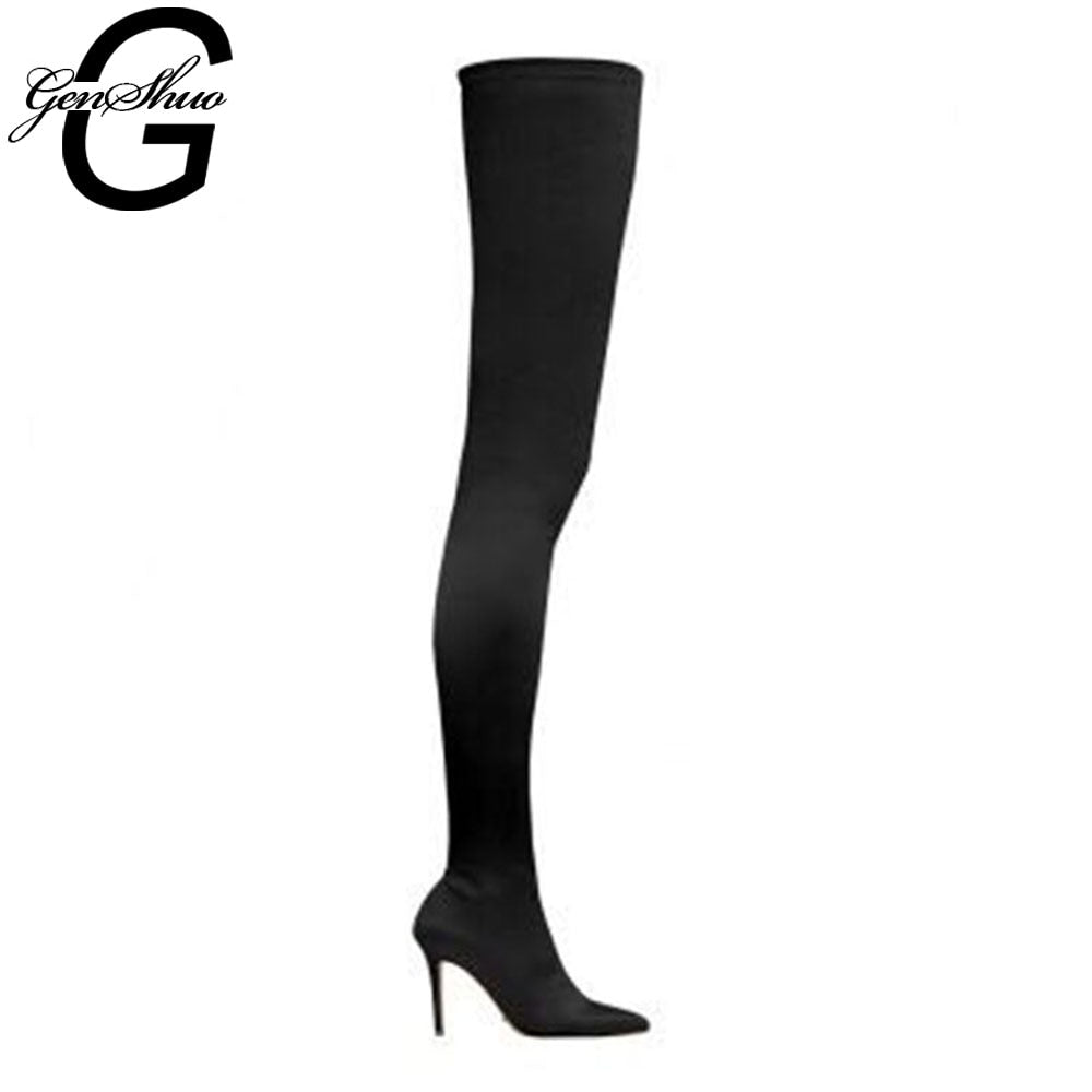 GENSHUO Thigh High Boots Over the Knee Pointed Toe High Heel