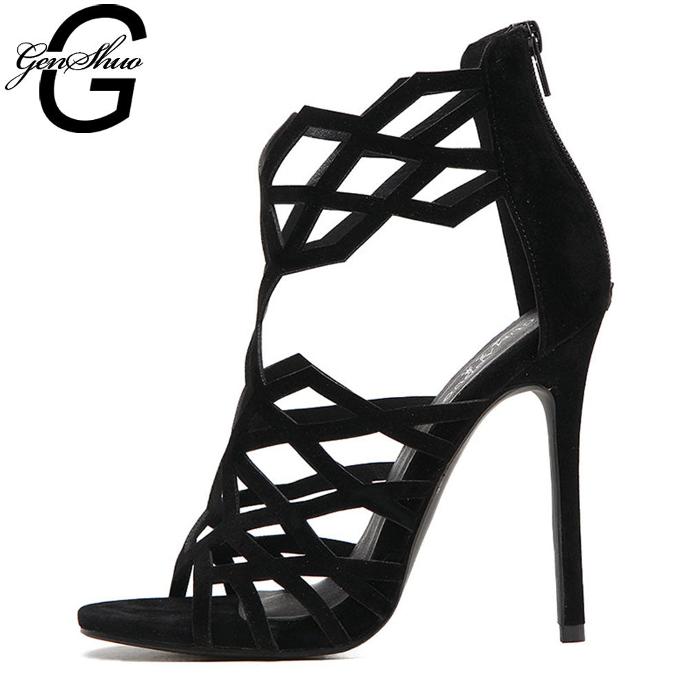 GENSHUO High Heels Hollow Out Sexy Gladiator Sandals