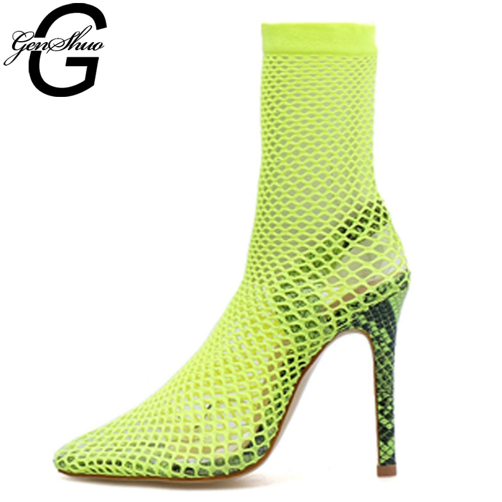 GENSHUO Cut Out Roman Sandals Gladiator  Stilettos Pointed Toe High Heels