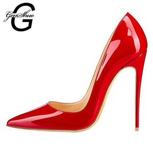 GENSHUO Women Pumps Red Lacquer Patent Leather High Heels