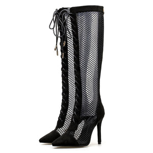 GENSHUO Pointed Toe Hollow air Mesh Stiletto Heel Lace up knee-high Boots