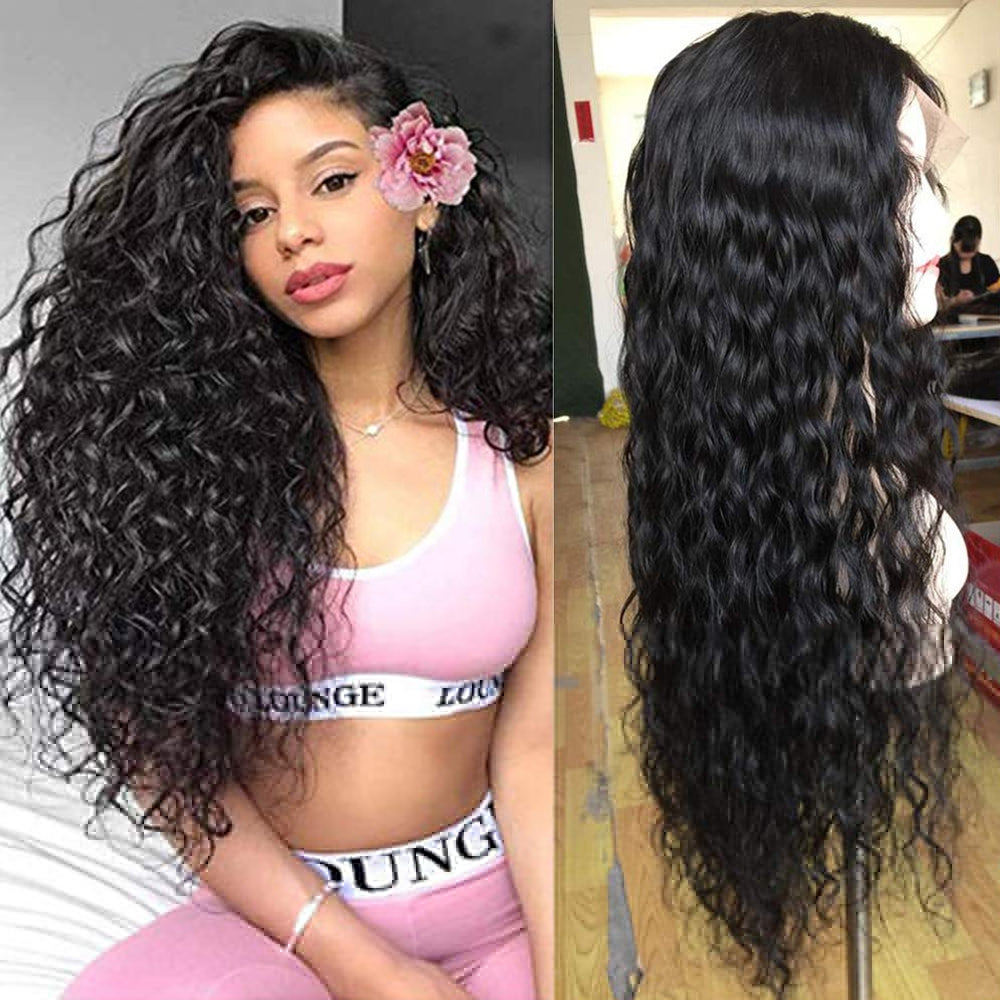 Lace Front Human Hair Wigs Brazilian Water Wave Wig Pre Plucked Natural Hairline