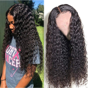 Mongolian Water Wave Lace Front Human Hair Wig Pre Plucked With Baby Hair Glueless