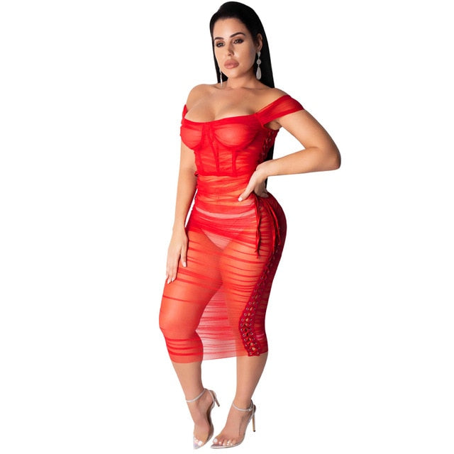 Red Sheer Mesh Ruched Perspective Midi Dress Side Lace Up
