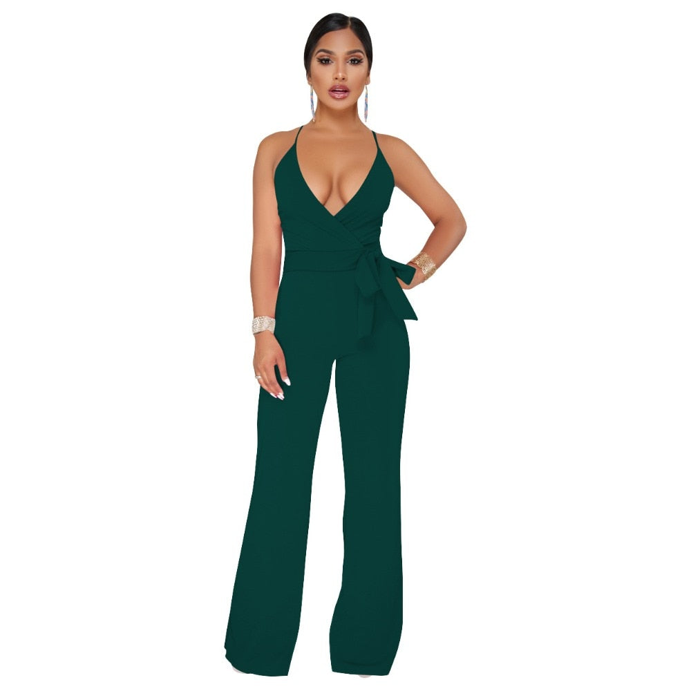Sexy Wrap V Neck Pleated Lace Up Jumpsuit Spaghetti Strap Backless