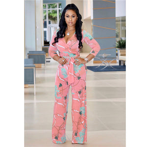 Long Sleeve Floral Print Wide Leg Rompers
