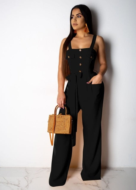 Spaghetti Strap High Waist Jumpsuit with Belt Front Buttons Pockets Romper