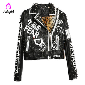 Studded Punk Style Motorcycle Leather Jacket