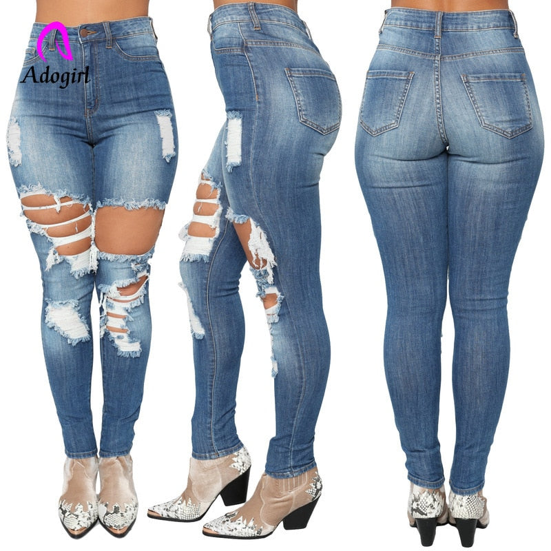 Destroyed Ripped Distressed Slim Denim Jeans High Elastic Plus Size 2XL