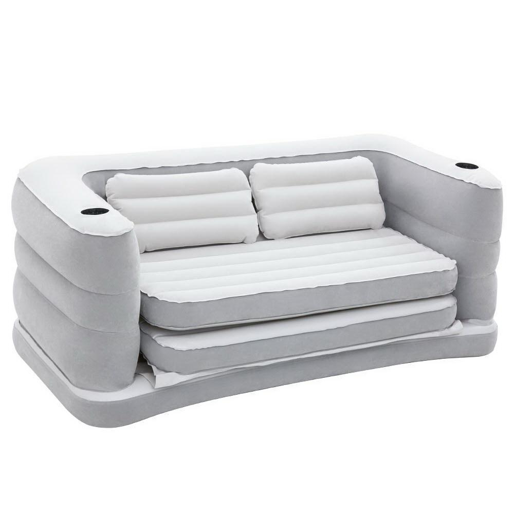 - 2-In-1 Inflatable Couch Air Sofa Bed Mattress Chair W/ Cup Holders