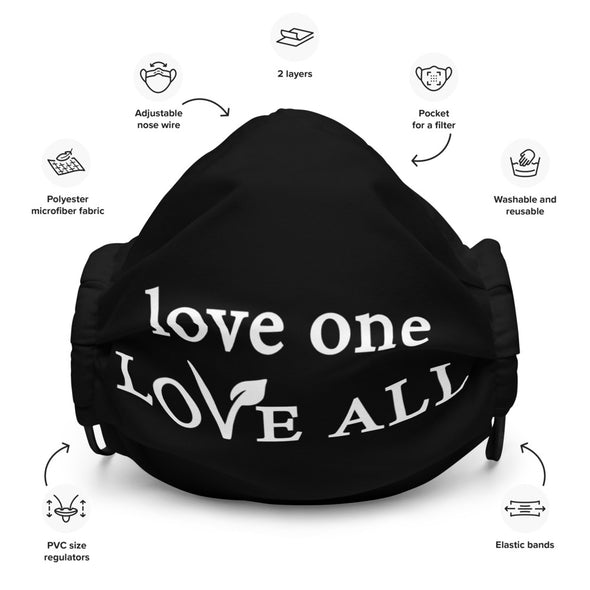love one LOVE ALL - Reusable face mask with nose wire and filter pocket