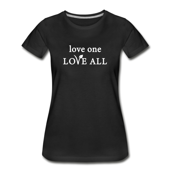 love one, love all - Women's Organic Cotton Slim Fit Tee - black
