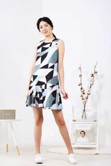 Geometric Printed Uneven Hem Dress (Green)