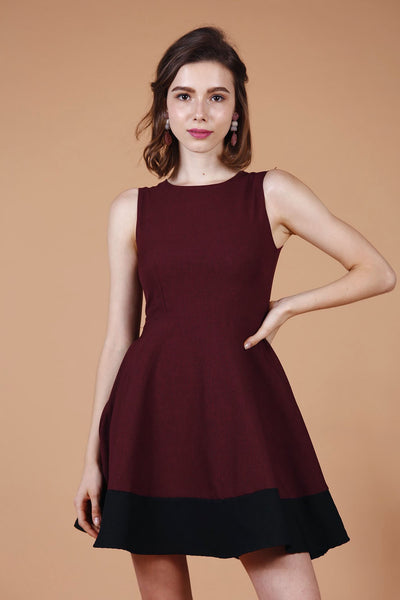 Duo-Tone Skater Dress (Wine)