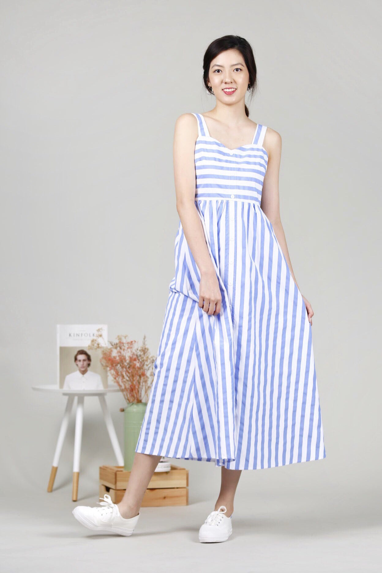 Stripes Maxi Dress (Light Blue)
