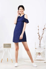 Dotted Cold-Shoulder Dress (Navy)