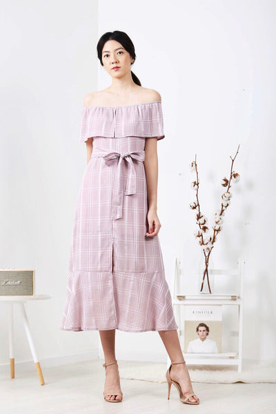 Off-Shoulder Plaid Front Slit Maxi Dress (Pink)