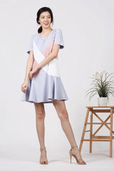 Colourblock Cross Panel Dress (Grey)